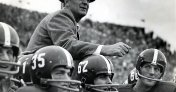"Legendary Alabama football coach Paul W. ""Bear"" Bryant is carried off the field after the Crimson Tide vanquished arch-rival Auburn. A museum in Tuscaloosa chronicles the career of Bryant and the history of Alabama football. Illustrates ALABAMA-BRYANT (category t), by Tom Oliver (c) 2007, The Washington Post. Moved Friday, Dec. 28, 2007. (MUST CREDIT: Paul W. Bryant Museum.)"