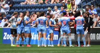 BRIDGEVIEW, IL - JUNE 4: Chicago Red Stars take a hydration break in the first half during a game between the Seattle Reign and the Chicago Red Stars on June 4, 2017, at Toyota Park, in Bridgeview, IL. (Photo by Patrick Gorski/Icon Sportswire)