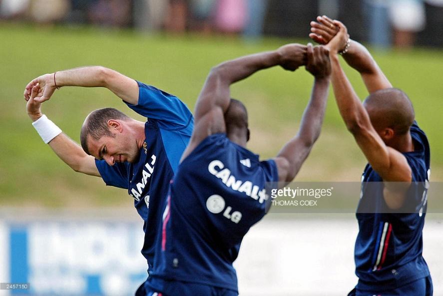 French midfielder Zinedine Zidane (L) st : News Photo